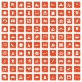 100 orange grunge figée de maternité par icônes Photo libre de droits