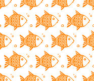 Orange grunge fishes vector seamless pattern. On white background Stock Photography