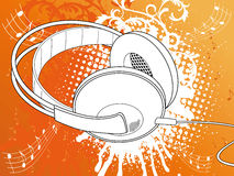 Orange Grunge Headphone. Vector Illustration Stock Image
