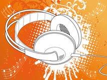 Orange Grunge Kopfhörer Stockbild