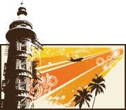 Orange Grunge Retro City. Vector Illustration Stock Images