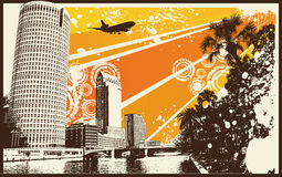 Orange Grunge Retro City. Vector Illustration Stock Image