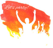 Orange grunge watercolored party background Royalty Free Stock Photos