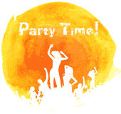 Orange grunge watercolored party background Stock Photos