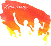 Orange grunge watercolored party background Stock Image