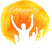 Orange grunge watercolored party background Royalty Free Stock Photography