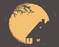 Orange Grungy Halloween Background. With scary trees, moonlight and house Stock Images