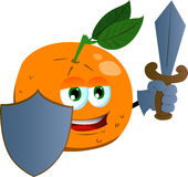 Orange guard with shield and sword Stock Images