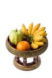 Orange guava banana on tray royalty free stock photos