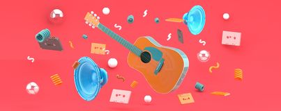 An orange guitar and blue speakers amid balls and tape on a pink backdrop. royalty free illustration