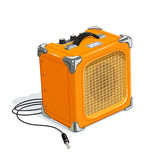 Orange guitar combo amplifier with cord. Audio and sound device for rock music. Acoustics instrument guitarists. Booster musicians. Vector illustration. White Stock Photography