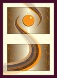 Orange guld- begrepp för etikett för brunnsortskönhetsmedelklistermärke med bubblor Royaltyfria Bilder