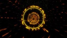 orange guld- för Stargate för science fiction 3D bakgrund för rörelse för ögla tunnel VJ arkivfilmer