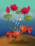 Orange guldfisk med knyckar och lotusblomma Arkivfoton