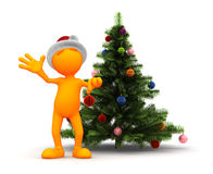 Orange Guy: Standing By The Christmas Tree Royalty Free Stock Image