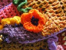 Orange Häkelarbeit-Blumen-Nahaufnahme stockfoto