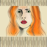 Orange haired flicka Royaltyfri Bild