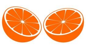 Orange halbiert zur Hälfte Lizenzfreies Stockbild