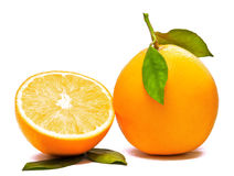 Orange And Half. Fresh Orange Fruit And A Half Royalty Free Stock Images