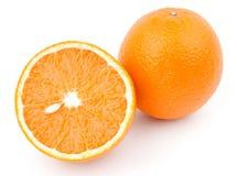 Orange and half. Isolated on white background royalty free stock photo