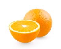Orange and half. On white background stock photo