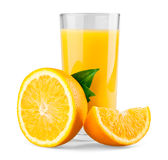 Orange and half with leaves and juice. On white background royalty free stock images