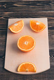 Orange, Half, Lobule. Healthy Lifestyle Concept. Orange, Half of Orange, Orange Lobule on the Wooden Table. Healthy Lifestyle Concept Royalty Free Stock Photos