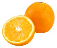 Orange with half of orange isolated on the white background.  royalty free stock photography