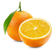 Orange with a half of orange and leaf isolated on the white back Royalty Free Stock Images