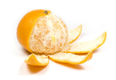 Orange, half without peel. In view flower, on white Royalty Free Stock Photos