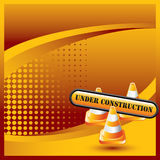 Orange halftone banner construction cones and sign Royalty Free Stock Photo