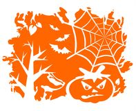 Orange halloween background. Trees, cobweb, bats and a pumpkin on an orange grunge background Stock Images