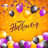 Orange Halloween background with balloons and pennants. Lettering Happy Halloween on orange background with multicolored balloons, pennants, streamers and Stock Image