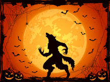 Orange Halloween background with bats and werewolf. Orange Halloween background with Moon on sky, pumpkins and werewolf, grunge decoration with cobweb, spiders Stock Images
