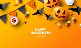 Orange Halloween Background Design Royalty Free Illustration