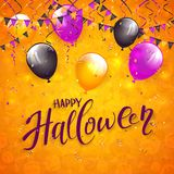 Orange Halloween background with pennants and balloons. Text Happy Halloween on an orange background with holiday images, colorful balloons, pennants, streamers Royalty Free Stock Photos