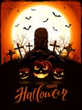 Orange Halloween background with pumpkins and tomb on cemetery Royalty Free Stock Image
