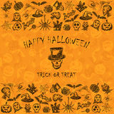 Orange Halloween background with sketches icons Stock Image
