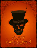 Orange Halloween background with skull in the hat Stock Photos