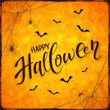 Orange Halloween background with spiders Royalty Free Stock Photography