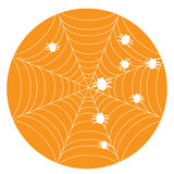 Orange halloween background with web Stock Image