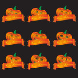 Orange halloween carved pumpkins and banners set eps10. Orange halloween carved pumpkins and banners set stock illustration