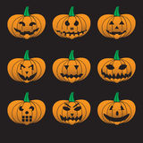 Orange halloween carved pumpkins set Royalty Free Stock Photography