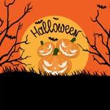 Orange Halloween-Hintergrund mit furchtsamen Kürbisen, Vollmond, Baum lizenzfreie abbildung