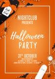 Orange halloween party flyer template Royalty Free Stock Photos