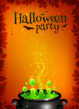 Orange Halloween poster template with green potion. Orange vector Halloween poster template with green potion in black cauldron Royalty Free Stock Photography