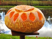 Orange halloween pumpa Arkivfoton