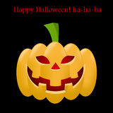Orange Halloween pumpkin on black and red background with an inscription Stock Photos