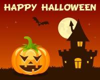 Orange Halloween Pumpkin Haunted House Stock Photo
