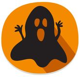 Halloween sticker with spooky ghost. Orange halloween sticker or icon with haunted ghost. Halloween theme clean design Stock Images
